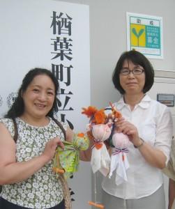 楢葉南小学校にて。齋藤洋子校長先生と。